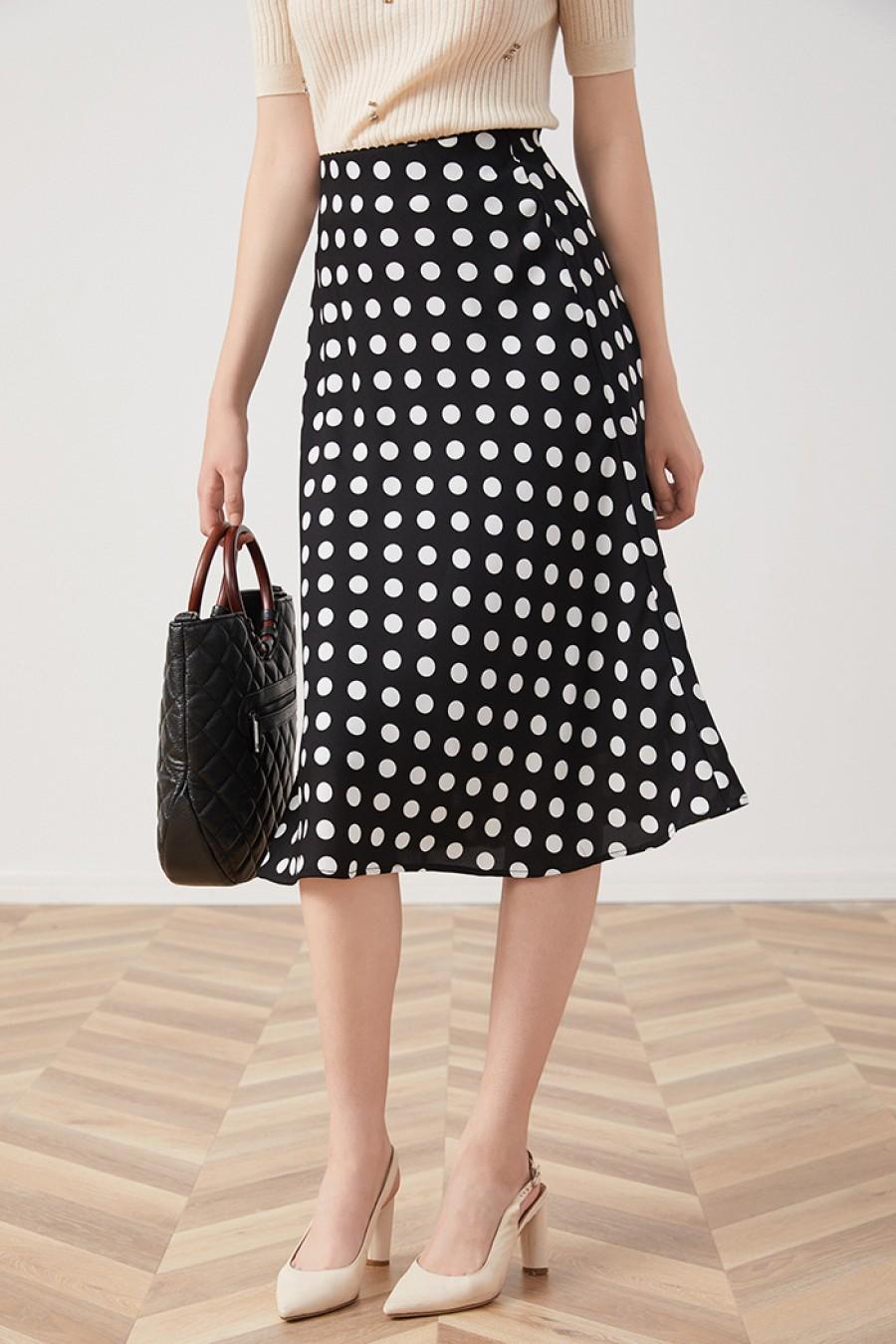 Polka dot print skirt