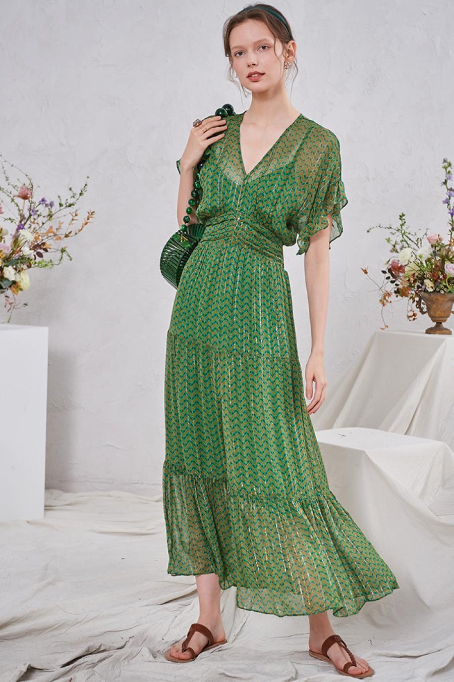 Beryl Metallic Georgette Maxi Dress