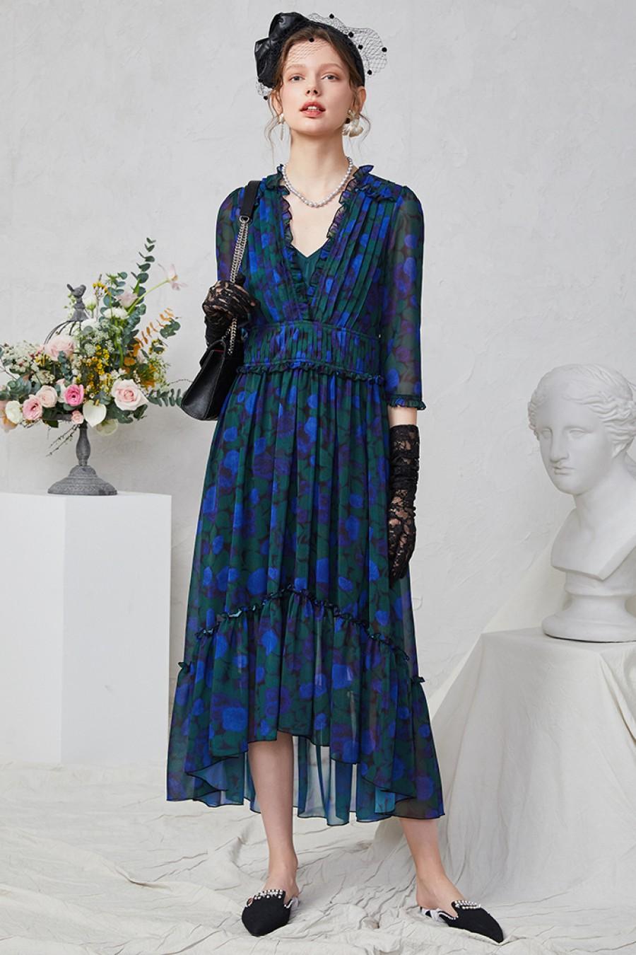 Dahlia Frill Floral Dress