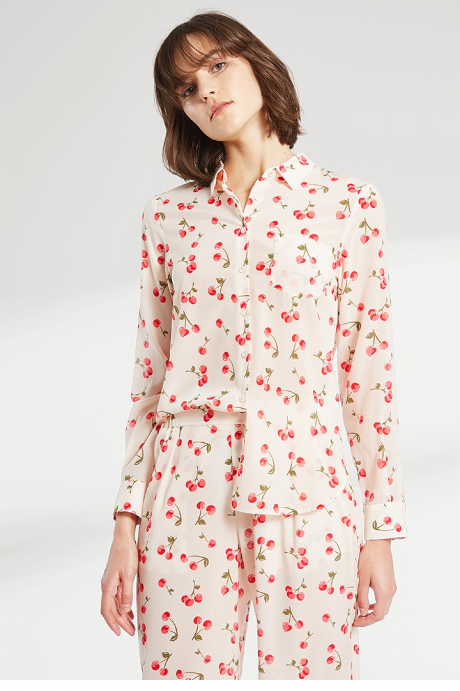 Cherry Printed Silk Shirt