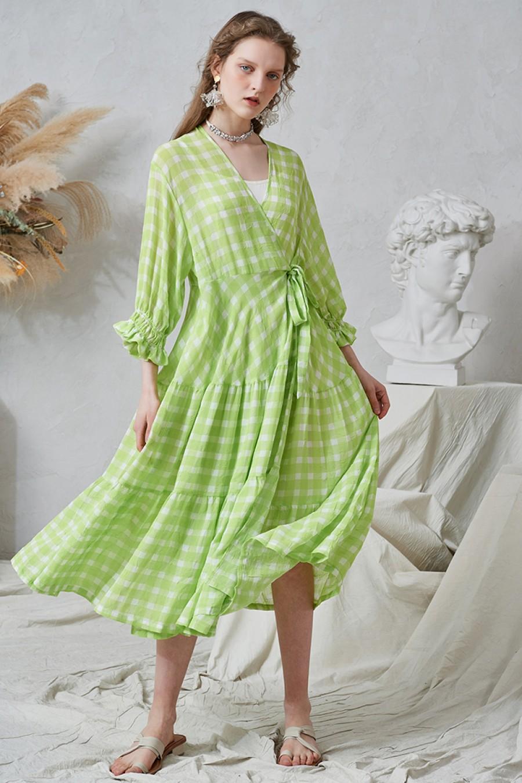 Elena Check Print Wrap Dress