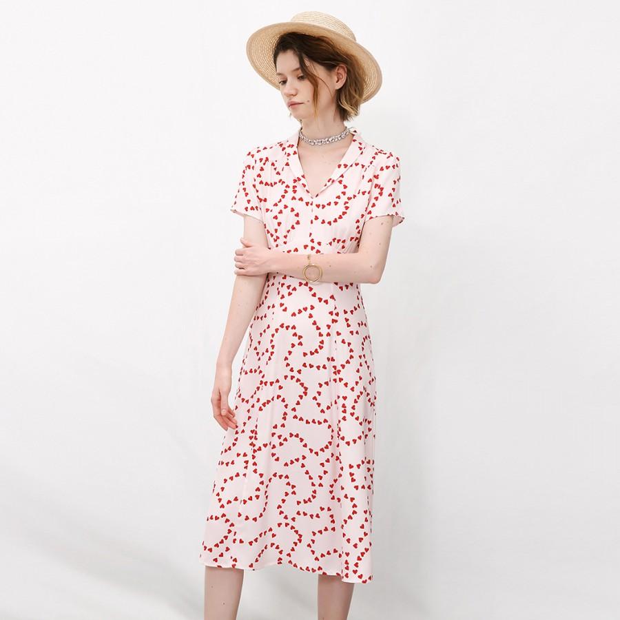 Morgan heart-print silk long dress HVN SfZrM0