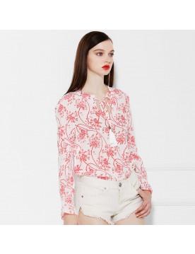 Tassel Print Silk Blouse