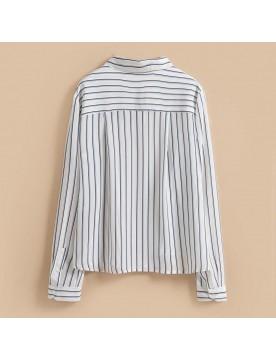 Striped Silk Boyfriend Shirt