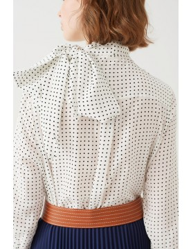 POLKA DOT PRINT BLOUSE WITH NECK-TIE
