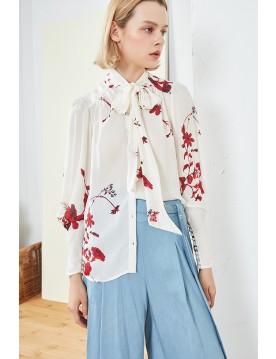 Printed Tie-neck Silk Blouse