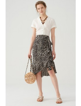 Ruffle skirt with leopard print