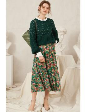Angela Garden Print Midi Skirt