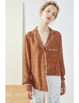Polka Dot Print Pajama Shirt