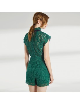 High Neck Lace Playsuit