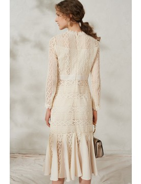 Lily Tiered Lace Midi Dress