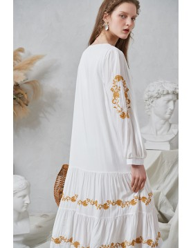 Jess Embroidery Midi Dress