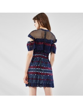 Lace Frill Sleeve Mini Dress