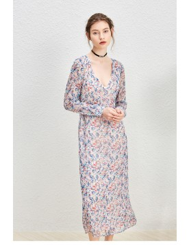 Lavender Floral Print Chiffon Dress