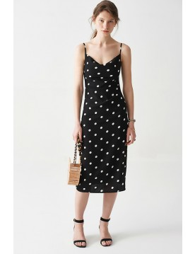 Polka dot midi slip dress